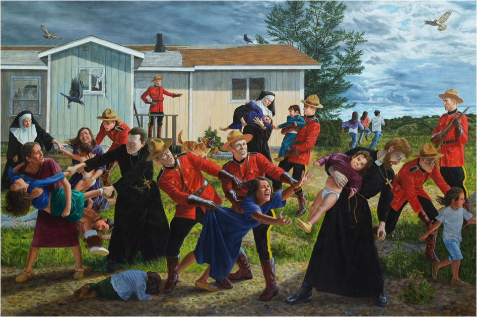 "Kent Monkman, The Scream, 2017, 84"" x 126"", Acrylic on Canvas"