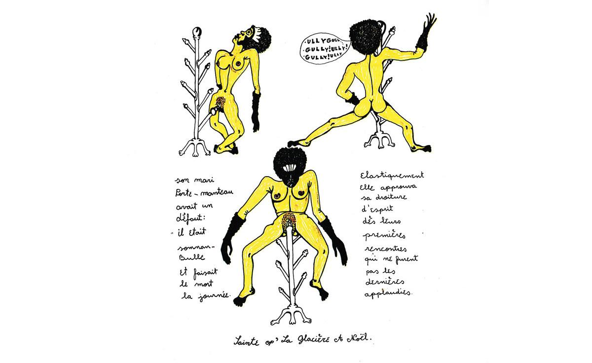 Croquis des femmes accrochées par le vagin à son porte manteau est l'oeuvre Lumière verte de l'artiste Sophie Podolski